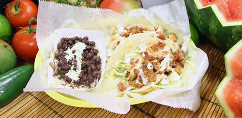 chicken club tacos